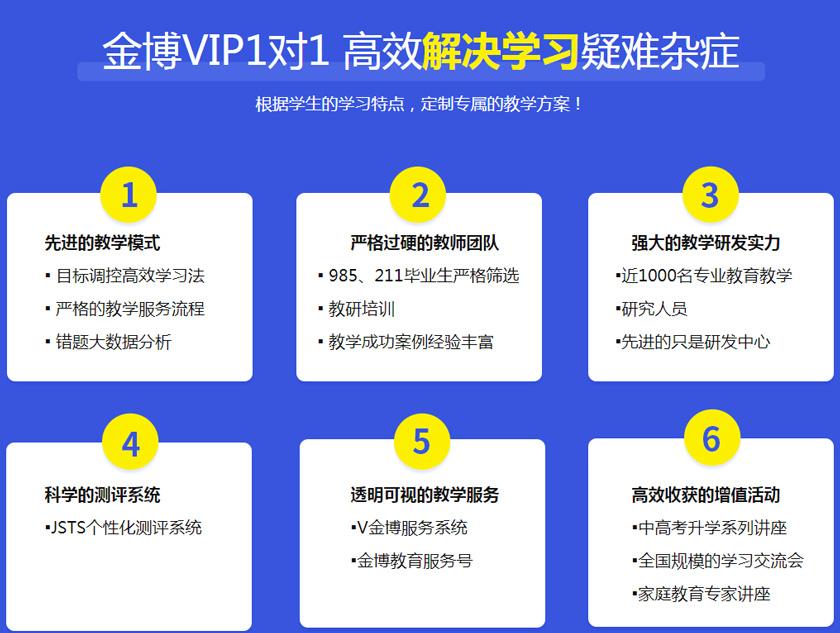 北京金博教育VIP中小學全科輔導-金博VIP1對1高效解決學習疑難雜癥